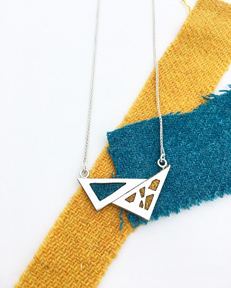 Sterling silver double triangle necklace -18inch chain