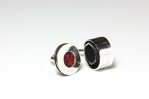 Sterling Silver with Maroon Harris Tweed and oxidised silver.