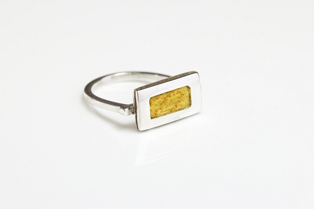 Sterling silver Ring with Yellow Harris Tweed