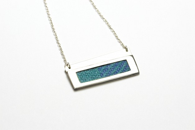 Sterling Silver Necklace with turquoise and blue Harris Tweed- 55x22mm - 18 inch chain