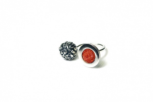Sterling Silver with Red Harris Tweed